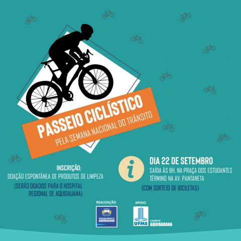 EVENTO| Aquidauana promove Passeio Ciclístico em alusão à Semana Nacional do Trânsito