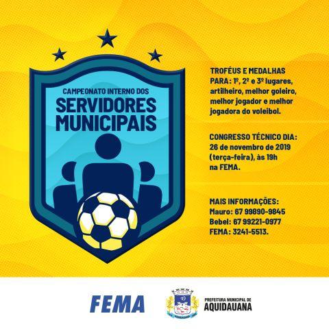 FEMA abre inscrições para o Campeonato Interno dos Servidores Municipais de Aquidauana
