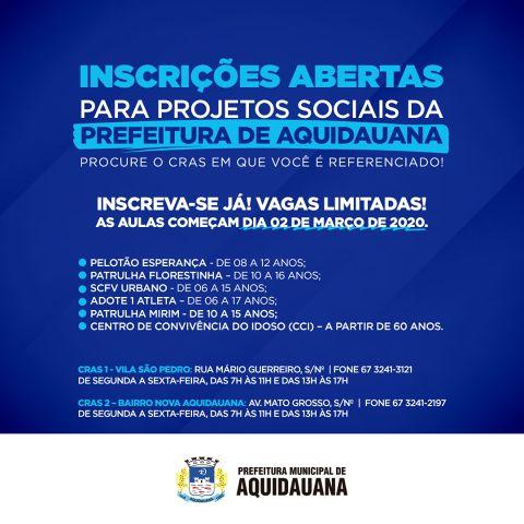 SOCIAL| Prefeitura abre inscrições para projetos sociais com crianças, adolescentes e idosos